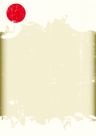 kamikaze: A poster with a flag of Japan with a large empty grunge frame for your message. Illustration