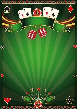 cards poker: A green poster casino for your poker tournament Illustration