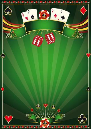 cartas de poker: Un casino cartel verde para su torneo de poker Vectores