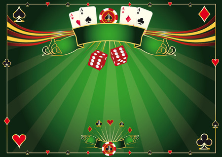 night suit: A casino horizontal background for your poker tour Illustration