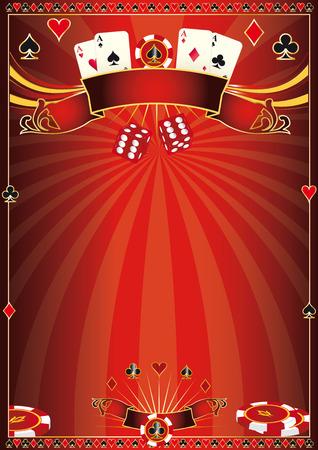 あなたのポーカー トーナメントの赤いポスター  イラスト・ベクター素材