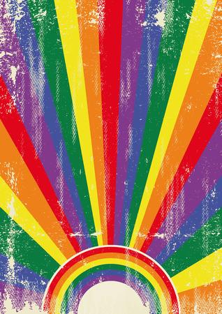 bandera gay: Un cartel gay de la vendimia con los rayos de sol y aa la textura para su publicidad