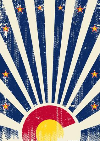 Денвер: Урожай Колорадо плакат с солнечными лучами и аа текстуры для вашей рекламы