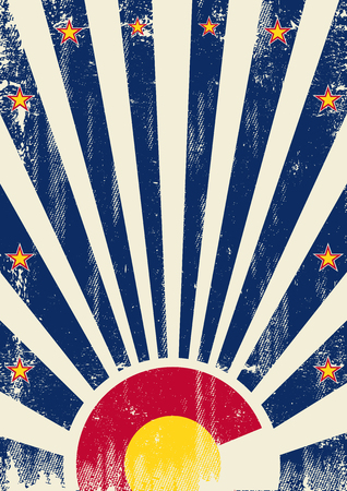 denver: A vintage colorado poster with sunbeams and a a texture for your advertising