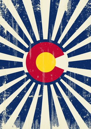 A vintage colorado poster with sunbeams and a a texture for your advertising