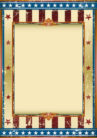 letras de oro: Fondo americano viejo con un marco y una textura.