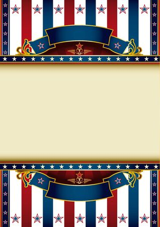 us independance: A poster with a tricolor backgound and a large frame for your message Illustration