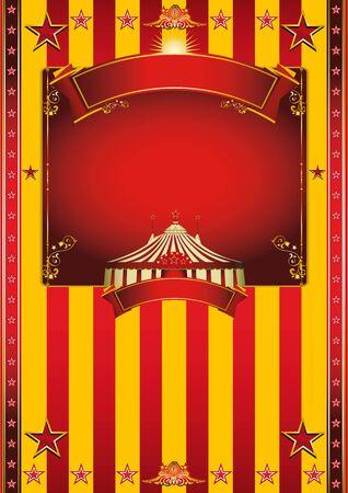 ビッグ トップ、赤と黄色の背景とあなたのメッセージを大規模なフレームのサーカス ポスター