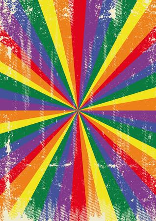 太陽光線のヴィンテージポスター ゲイとの広告のためのテクスチャ  イラスト・ベクター素材