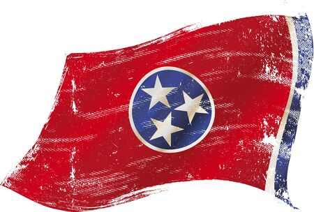 tennesse: bandera de Tennessee en el viento con una textura