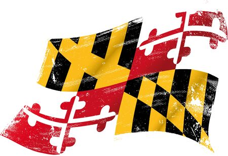 old ruin: flag of  Maryland in the wind with a texture