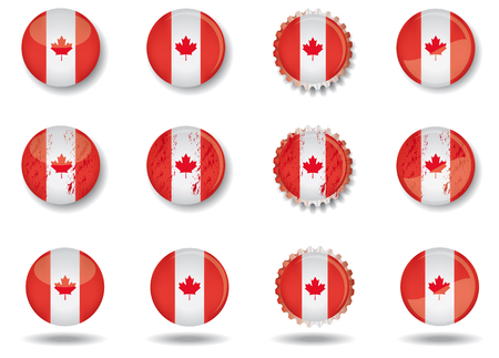 canadian flag: A set of web buttons with the canadian flag