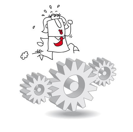 invent: Karen the businesswoman is running on gears. Its a metaphor Illustration