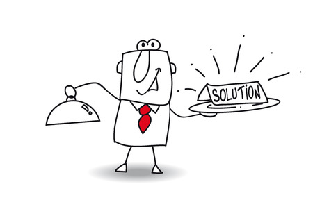 solution: Joe brings a plateau with the word solution Illustration