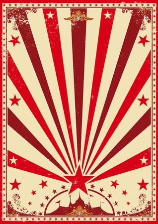 cabaret stage: Un cartel de circo rojo de la vendimia con los rayos solares para su show