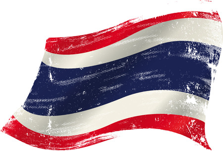 bad condition: flag of  Thailand in the wind with a texture