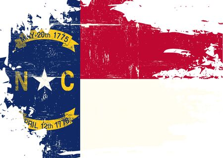 homeland: A flag of North Carolina with a grunge texture Illustration