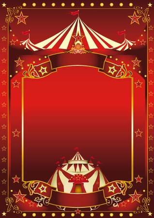 A red background circus with a large copy space and a big top for your message. 向量圖像