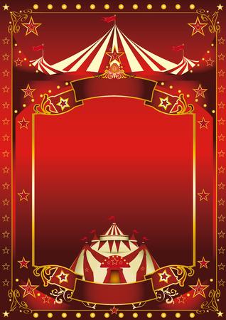 circo: Un circo de fondo rojo con una copia espacio grande y una gran carpa para su mensaje. Vectores
