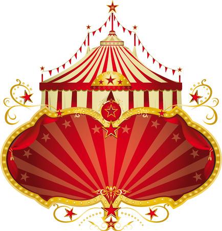 Een circus frame met een grote tent en een grote kopie ruimte voor uw bericht. Stock Illustratie