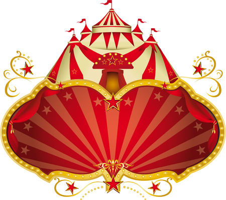 red gold: A circus frame with a big top and a large copy space for your message.
