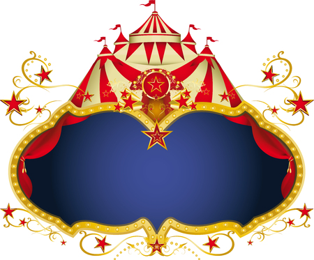 cabaret stage: A circus frame with a big top and a large copy space for your message.