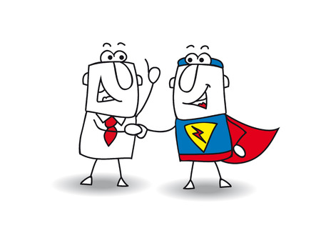 A businessman and a superhero shaking hands. It's ok ! I swear to you ! Stock Illustratie