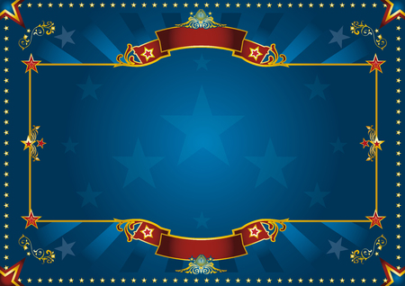 cabaret stage: a blue retro poster with red sunbeams for your advertising. Perfect size for a screen. Vectores