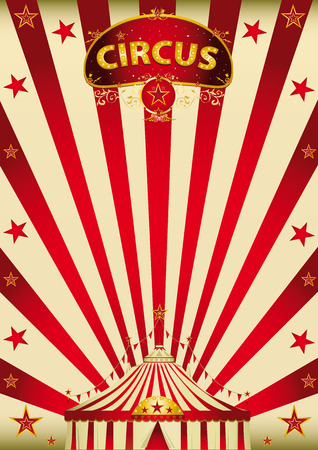 A vintage circus poster with a big top