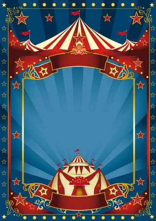 藍色背景馬戲團與大型副本空間和大頂的來信。
