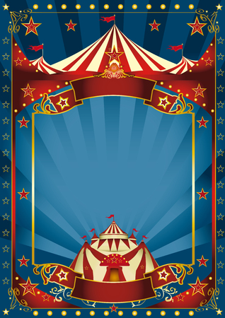 A blue background circus with a large copy space and a big top for your message.