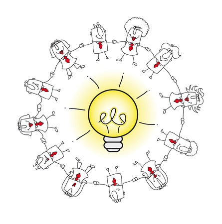 crowd sourcing: A business team around an idea bulb. it is a metaphor of the concept of collective intelligence or crowd solving