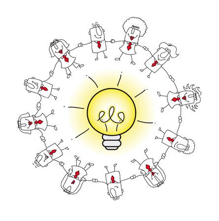 inteligencia: Un equipo de negocios en torno a una bombilla de idea. es una metáfora del concepto de inteligencia colectiva o de la resolución de multitud