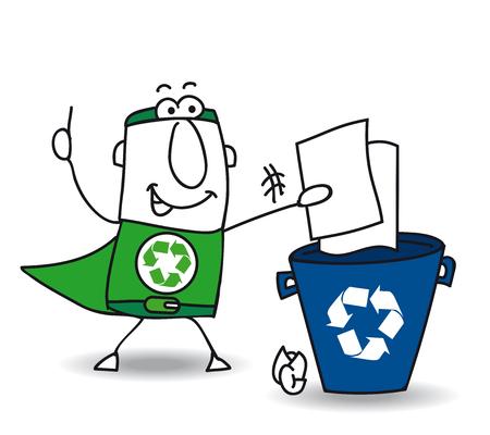 educacion ambiental: Reciclar-Man el superhéroe recicla papel y cartón en un bote de basura específico Vectores