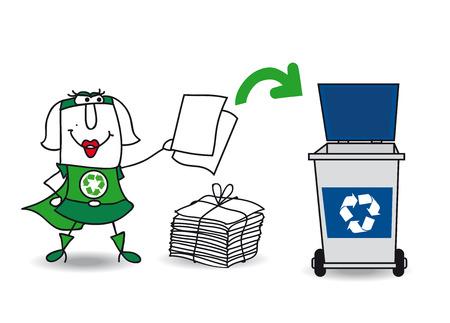 reciclar basura: Karen, la mujer súper verde recicla papel y cartón en un bote de basura específico Vectores