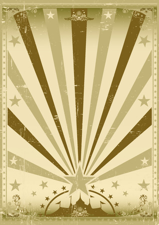 sunbeams: A vintage brown circus poster with sunbeams for your show