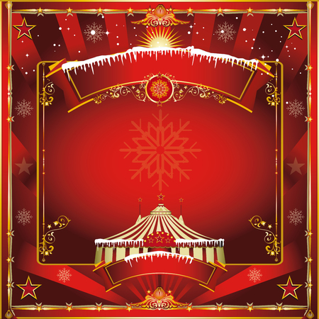 greeting card backgrounds: A circus vintage square greeting card for your christmas show