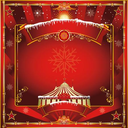 fondo para tarjetas: Una tarjeta de felicitaci�n cuadrada vendimia de circo para su show de navidad Vectores