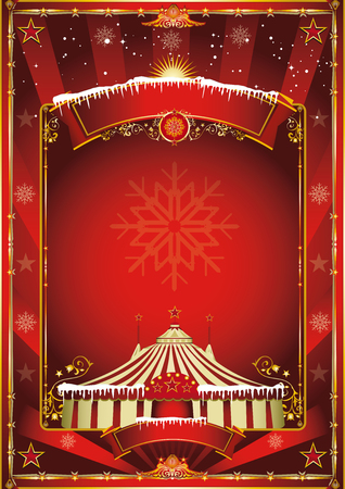Merry christmas and happy new year. A circus poster on the christmas theme for your... Enjoy