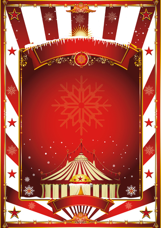 circus stage: Merry christmas and happy new year. A circus poster on the christmas theme for your... Enjoy