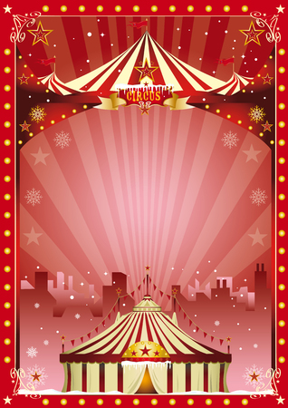 cabaret stage: Merry christmas and happy new year. The circus and his show are in the city for christmas ... Enjoy