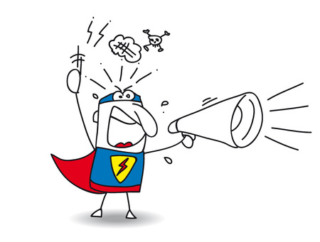 A super hero is shouting in a megaphone. Hes very angry! Illustration