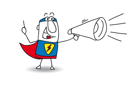 happy people: A super hero is speaking  in a megaphone