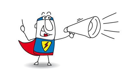 A super hero is speaking  in a megaphone