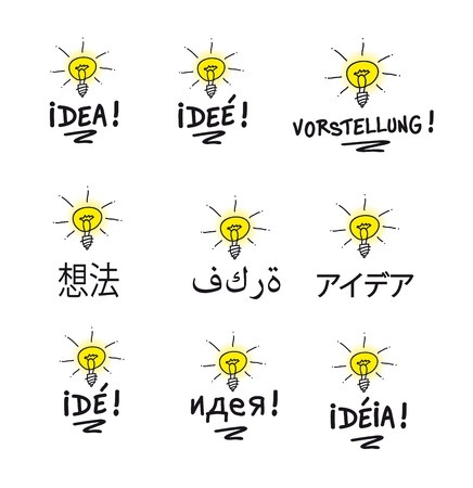 translated: the Word idea translated in many languages