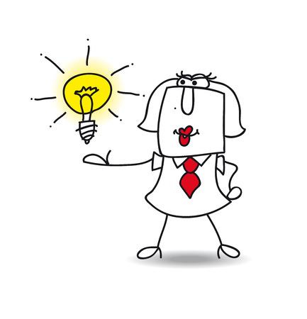 Karen the businesswoman is very intelligent. She presents her idea Illustration