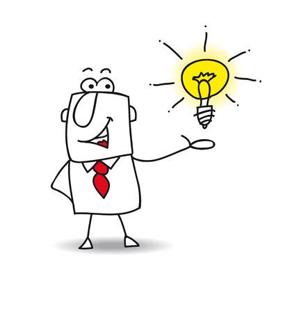 pensamiento creativo: Joe el hombre de negocios es muy inteligente. �l presenta su idea
