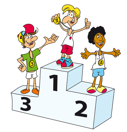 podium: John is the winner on the podium. He is the best Illustration