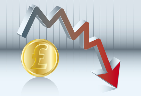 stock trader: Diagram of the value of sterling pound which goes down