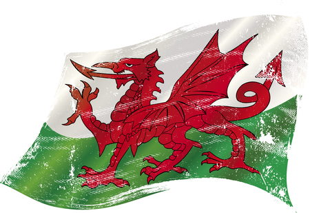 welsh: A grunge flag of Wales with the red dragon in the wind for you Illustration